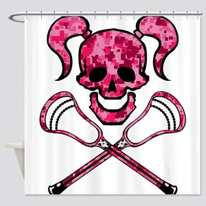 Lacrosse Pink Lady Digital Camo Skull Shower Curta